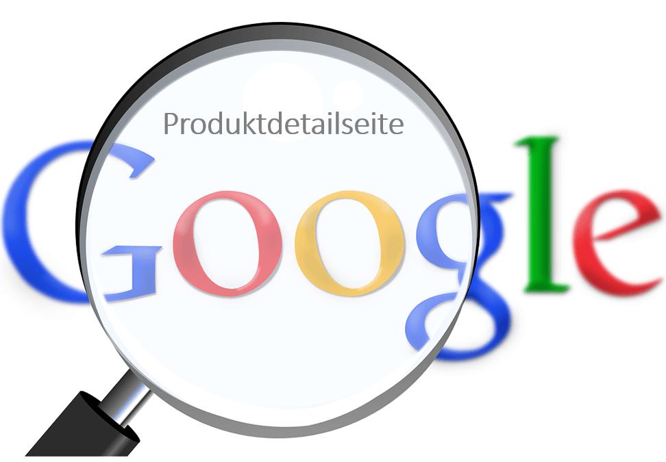 Produktdetailseite und Google