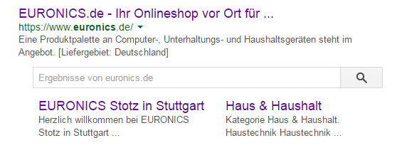 Sitelinks Search Box bei Euronics