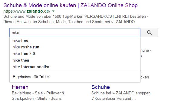 Sitelinks Search Box bei Zalando