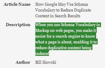 Bill Slawski zum Thema Schema.org und Duplicate Content