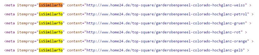 issimilarto Auszeichnung im Quellcode von home24