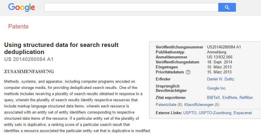 Patent strukturierte Daten gegen Duplicate Content