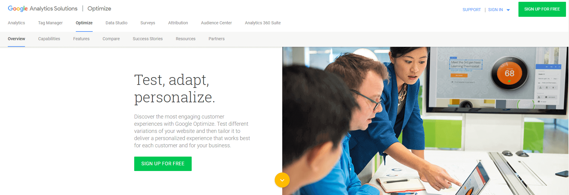 Google-Optimize-Anmeldung
