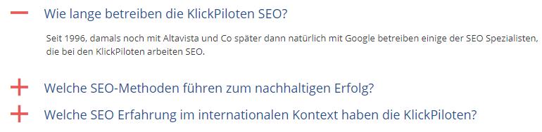 FAQs Beispiel der KlickPiloten